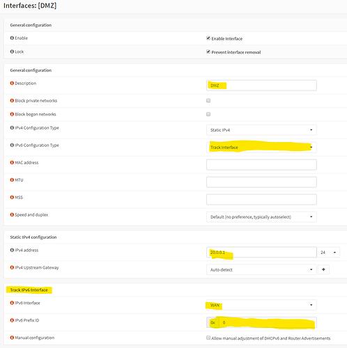 DMZ IPv6 settings